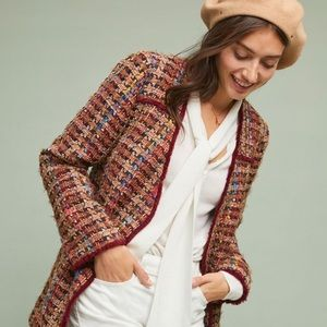 NWT Anthropologie ett:twa Harlequin tweed blazer S